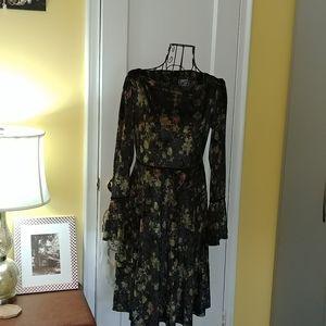 Velour Black Floral Dress NWOT Small